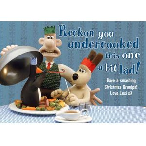 Wallace And Gromit Christmas Card - Grandpa, Standard Size By Moonpig Wag004 St