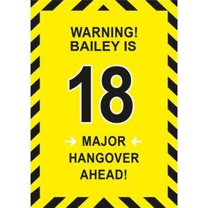 Warning Major Hangover Ahead 18th Birthday Card, Large Size By Moonpig Ukg151 Lg