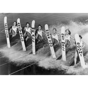 Waterskiers With Message On Skis Personalised Get Well Soon Card, Standard Size By Moonpig Ll328 St