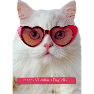 Moonpig White Cat Wearing Heart Sunglasses Personalised Valentine's Day Card, Giant Size By Moonpi Ava041
