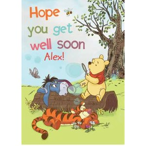 Winnie The Pooh - Get Well Soon Card, Large Size By Moonpig Wp653 Lg