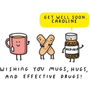 Wishing You Hugs, Mug By Moonpigs And Effective Drugs Get Well Soon Card, Standard Size By Mas037 St