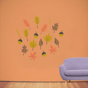 By Iwoot Autumn Leaves Wall Art Sticker Pack  Wd 18734