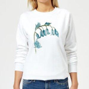 Candlelight Blue Bells Flower Women's Sweatshirt - White - M - White Ws 17788 Ffffff M, White