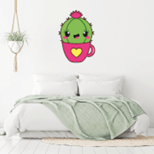 By Iwoot Cactus In A Cup Wall Art Sticker  Wd 18858