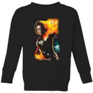 Captain Marvel Galactic Shine Kids' Sweatshirt - Black - 3-4 Years - Black Ys 11040 000000 Yxs, Black