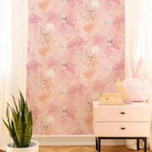 Disney Tinkerbell Watercolour Pastel Pink Wallpaper 106454, Pink