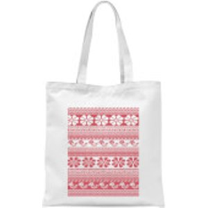 Candlelight Floral Knitted Pattern Tote Bag - White  Tb 17537 Ffffff