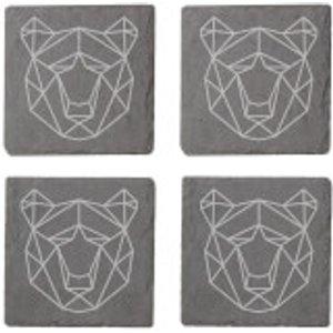 By Iwoot Geometric Bear Head Engraved Slate Coaster Set  Slc 34330