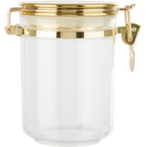 Premier Housewares Gozo Transparent Canister - Gold Finish Lid - Medium  1402685