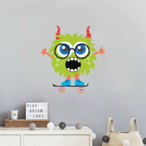 By Iwoot Green Monster With Horns Wall Art Sticker  Wd 18821