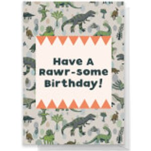 By Iwoot Have A Rawr-some Birthday Greetings Card - Giant Card  Rc 21350 Ffffff A3