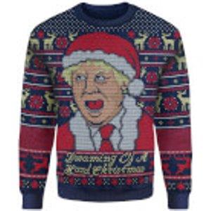 Own Brand Iwoot Exclusive Boris Johnson Knitted Christmas Jumper - Navy - Xl Blue Fbw19xm010, Blue