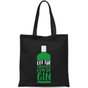 By Iwoot Let The Christmas Fun Be Gin Tote Bag - Black  Tb 9210 000000