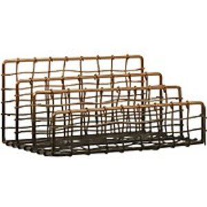 Premier Housewares Mimo Wire Letter Rack - Black/rose Gold  1901923
