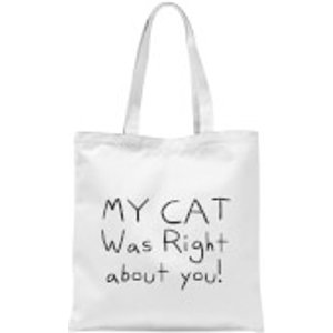 By Iwoot My Cat Was Right About You Tote Bag - White  Tb 148 Ffffff