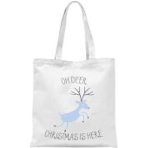 By Iwoot Oh Deer Christmas Is Here Tote Bag - White  Tb 9198 Ffffff