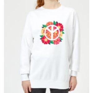 Iwoot Peace Symbol Floral Women's Sweatshirt - White - Xxl - White Ws 15948 Ffffff Xxl, White