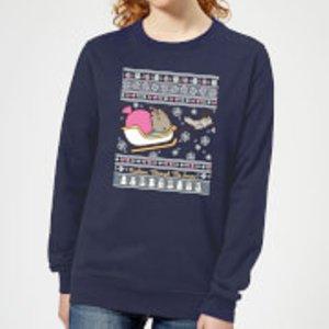 Pusheen Through The Snow Women's Christmas Sweatshirt - Navy - Xxl - Navy Ws 21026 263147 Xxl, Navy