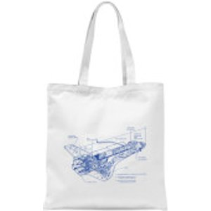 By Iwoot Shuttle Side View Schematic Tote Bag - White  Tb 16166 Ffffff