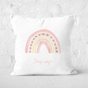 Rainbow Stay Safe Pink Heart Square Cushion - 60x60cm - Soft Touch  Cu 32472 60x60 St