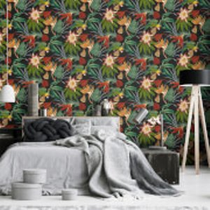 Superfresco Easy Black Exotic Parrot Tropical Wallpaper 108602, Black