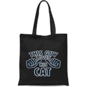By Iwoot This Guy Loves His Cat Tote Bag - Black  Tb 1695 000000