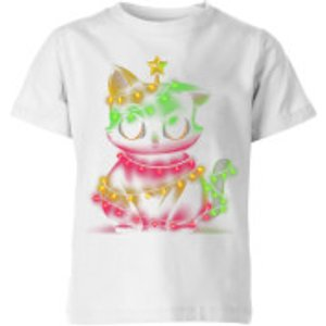 Tobias Fonseca Meow Catmas Lights Kids' T-shirt - White - 5-6 Years - White Yt 22153 Ffffff Ys, White