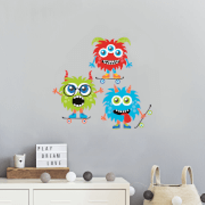 By Iwoot Variation Of Monsters On Skateboards Wall Art Sticker  Wd 18815