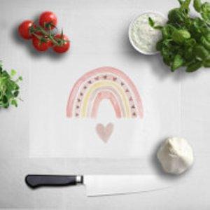 Watercolour Rainbow And Heart Chopping Board  Cb 32475 Ffffff