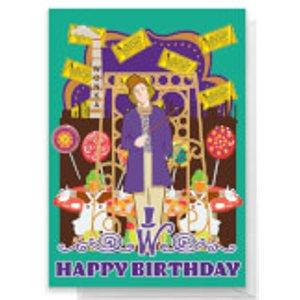Willy Wonka Birthday Greetings Card - Large Card  Rc 26751 Ffffff A4