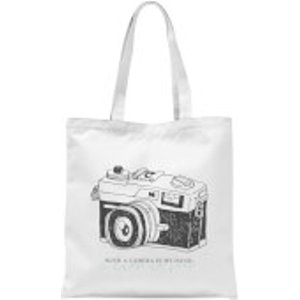 By Iwoot With A Camera In My Hand, I Know No Fear Tote Bag - White  Tb 2431 Ffffff