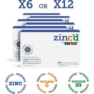 Zincd By Sense*  Vitamn C, D3 & Zinc Food Supplement Capsules — 30/60 Caps (x6 Bundle) 6
