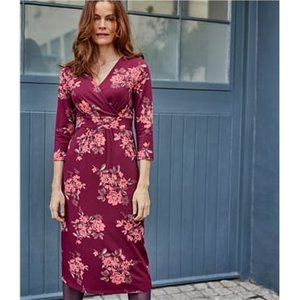 Woolovers Womens Cotton Empire Line Wrap Dress Xl Red Bloom Print J128l