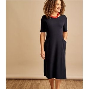 Woolovers Womens Jersey Fit & Flare Dress Xxl Navy J137l