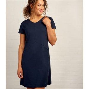 Woolovers Womens Short Sleeve Tunic Jersey Dress S Navy J52l