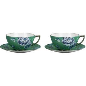 Wedgwood Jasper Conran Chinoiserie Green Teacup And Saucer, Set Of 2 701587228169 Crockery