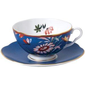 Wedgwood Paeonia Blush Blue Teacup And Saucer 701587384025 Crockery