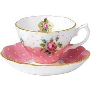 Wedgwood Royal Albert Cheeky Pink Vintage Teacup And Saucer 652383749887 Crockery