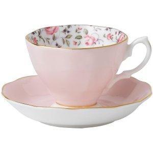 Wedgwood Royal Albert Rose Confetti Vintage Teacup And Saucer 652383739628 Crockery