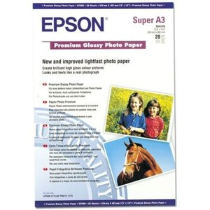 Epson Premium A3+ Glossy 255gsm Photo Paper- 20 Sheets C13s041316 Computer Components
