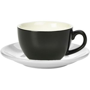 Royal Genware Black Bowl Shaped Cup And White Saucer 12oz / 340ml (pack Of 6) 34370 17103