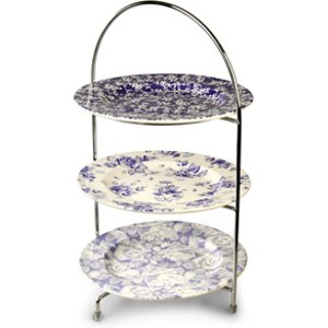 Utopia Chrome 3 Tier Cake Stand 43cm With Vintage Plates 25cm 33631 16646
