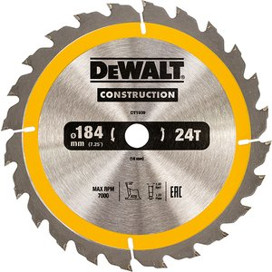 Dewalt Portable Construction Circular Saw Blade 184 X 16mm X 24t Dewdt1939qz