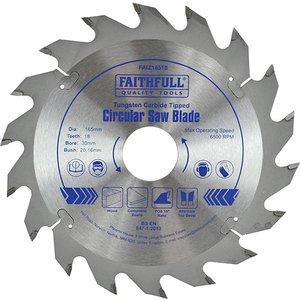 Faithfull Tct Circular Saw Blade 165 X 30mm X 18t Pos Faiz16518