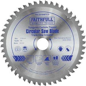 Faithfull Tct Circular Saw Blade Triple Chip Ground 216 X 30mm X 48t Neg Faiz21648tcg