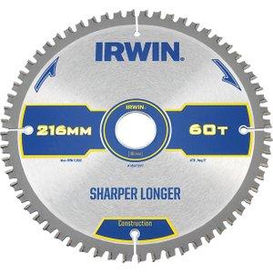 Irwin® Construction Mitre Circular Saw Blade 216 X 30mm X 60t Atb/neg Irw1897397