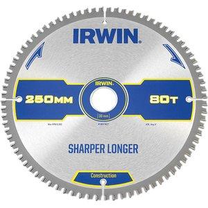 Irwin® Construction Mitre Circular Saw Blade 250 X 30mm X 80t Atb/neg Irw1897427