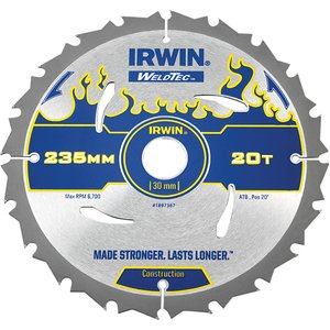 Irwin® Weldtec Circular Saw Blade 235 X 30mm X 20t Atb Irw1897387