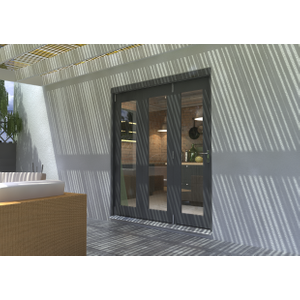 Rohden Grey Fully Finished Bi-fold External Doorset - 83in X 71in X 54mm (2100mm X 1800mm) 0461800